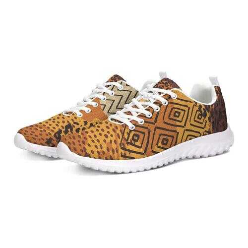 Womens Sneakers, Brown and Gold Multiprint Style Athletic Running Shoes