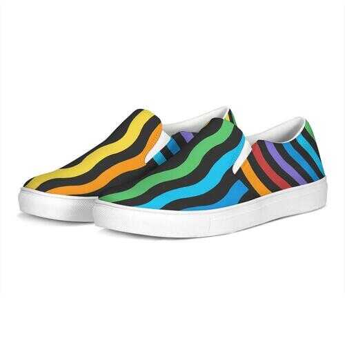 Rainbow Stripes Style Womens Slip-On Canvas Sneakers