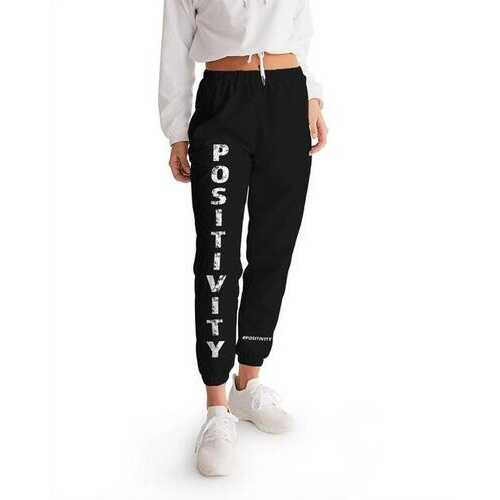 Womens Athletic Pants, Positivity Graphic Text Style Track Pants