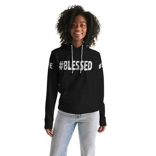 BLESSED LIFE Black White Womens Hoodie with Sleeve Text