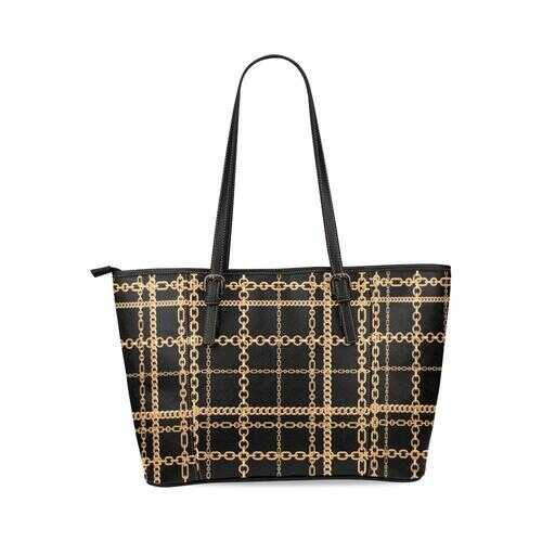 Shoulder Tote Bag, Black and Gold Chain Link Style Leather Tote Bag