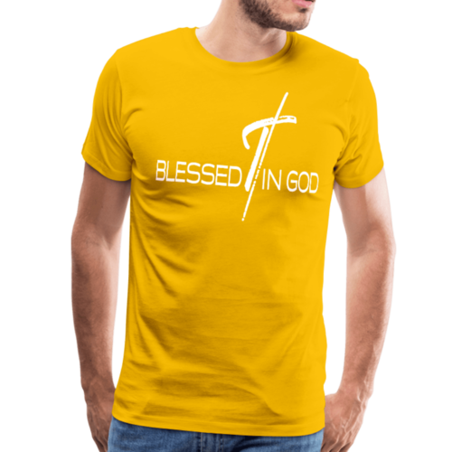 Blessed in God Graphic Text Mens T-Shirt