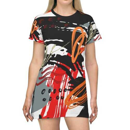 Black Red and Gray Abstract Style Womens Tee Style Dress