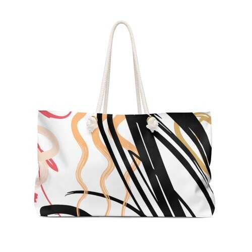 Tote Bags, Black and Pink Abstract Style Weekender Tote Bag