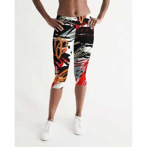 Black Red and Gray Abstract Style Womens Mid-Rise Capris