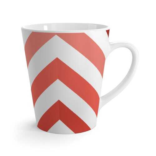 Yellow and White Herringbone Style Latte Mug