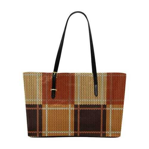 Brown Checker Style Euramerican Tote Bag