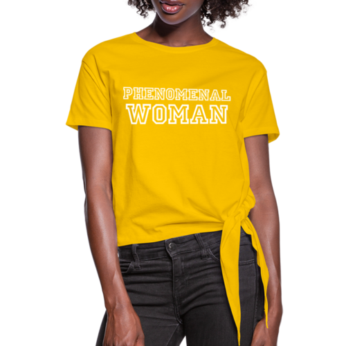 Womens T-Shirt, Phenomenal Woman Graphic Text Knotted Tee