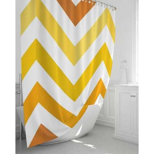 "Yellow and White Herringbone Shower Curtain 72""x72"""