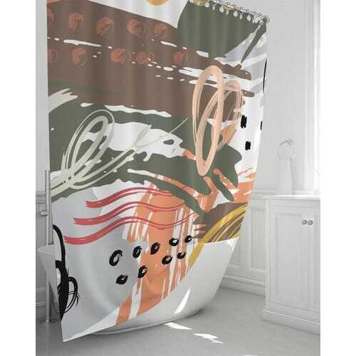 "Green and Orange Abstract Style Shower Curtain 72""x72"""