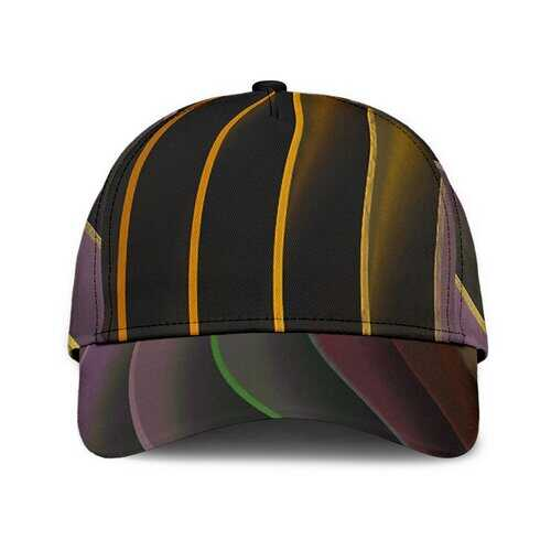 Unisex Hats, Black and Gold Wavy Style Cap