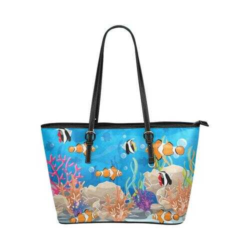Coral Reef Sea Life Style Leather Tote Bag