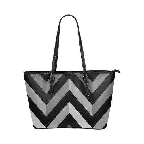 Gray and Black Herringbone Style Leather Tote Bag