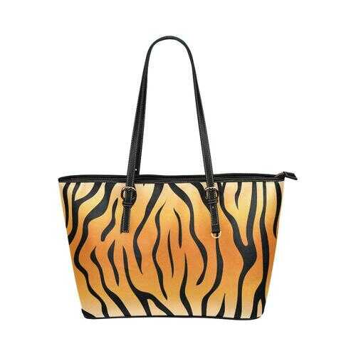Shoulder Tote Bag, Orange and Black Tiger Striped Style Leather Tote Bag