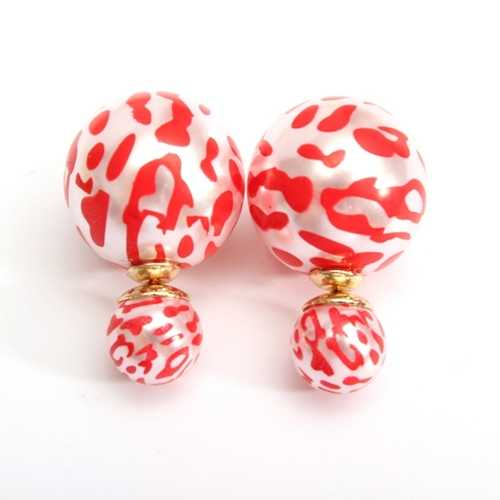 Double Side Leopard Print Pearl Bead Ball Earrings Ear Studs For Women