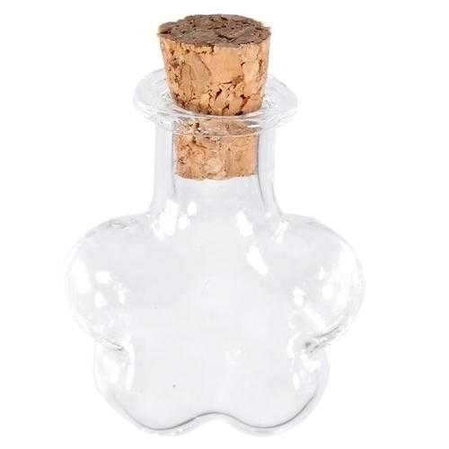 Multicolor Flower Shaped Wishing Message Glass Bottles Vials With Cork