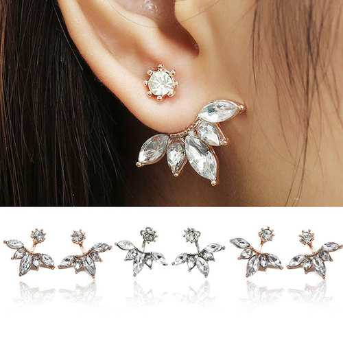 Elegant Silver Gold Plated Zircon Leaf Ear Stud Earrings For Women