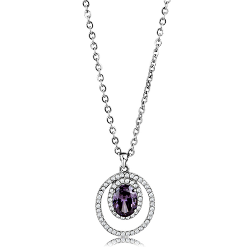 DA300 - Stainless Steel Chain Pendant High polished (no plating) Women AAA Grade CZ Amethyst