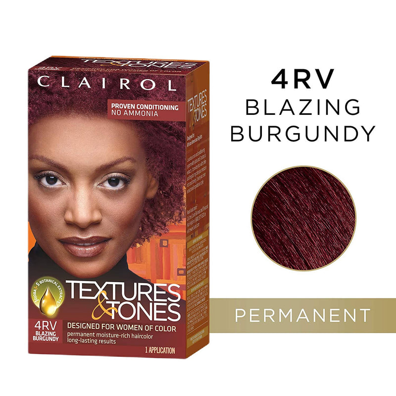 CLAIROL TEXTURES & TONES HAIR COLOR 4RV BLAZING BURGANDY
