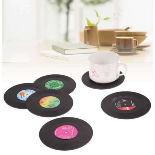 6 Pcs/set Retro Vinyl Drink Coasters Placemat