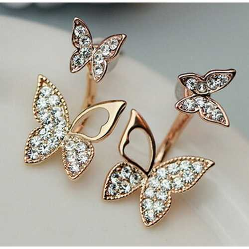 Hanging Butterfly Earrings Two Wear Fashion