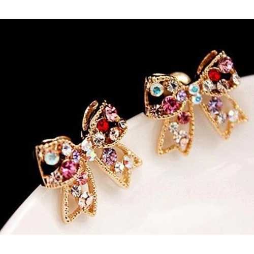 Colorful Charming Golden Bowknot Earrings