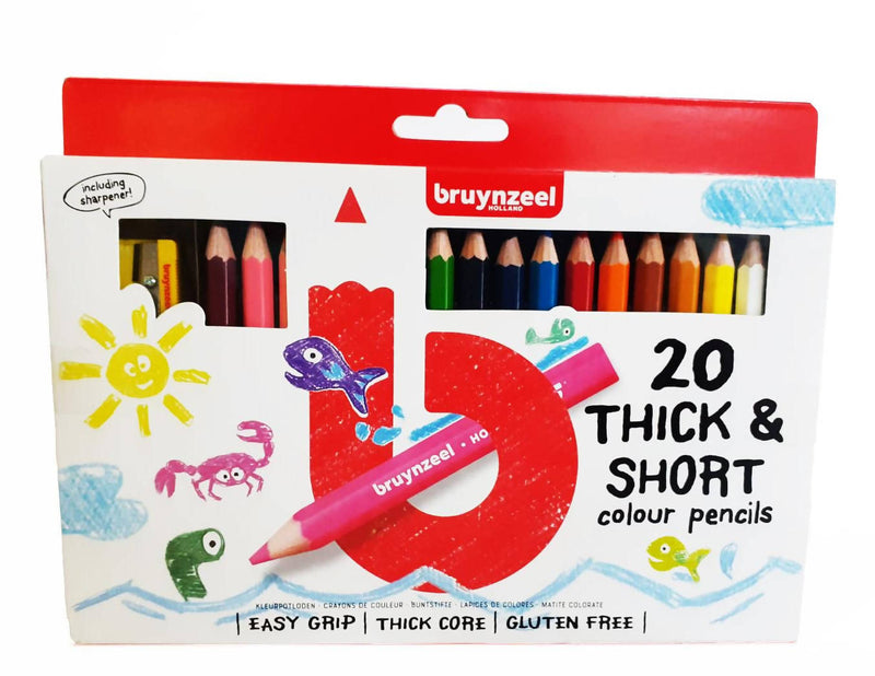 Bruynzeel 20 Thick & Short colour pencils