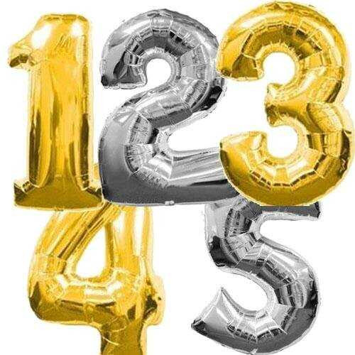 "16"" Silver Gold Foil Helium Number Balloon Party Birthday Wedding Decor Supplies"