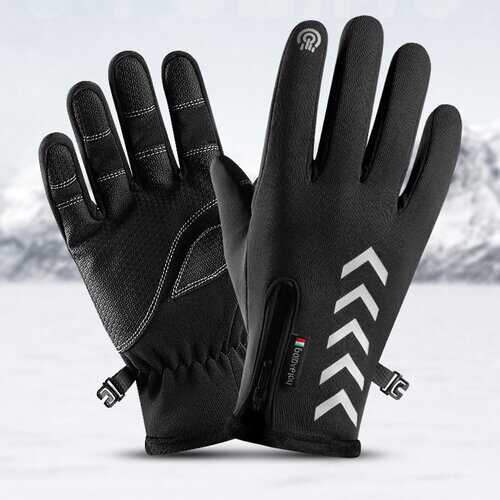 Cycling Warm Gloves Waterproof Sports Anti-skid Five-finger Touch Screen Night Riding Highlight Reflective Gloves