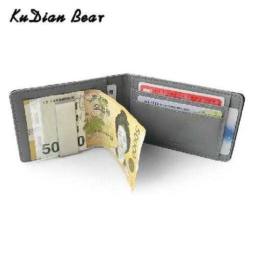 Men Money Clip Metal PU Leather Short Wallet Slim Male Card Case Metal Clamps for Money Wallet