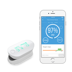 iHealth Air wireless pulse oximeter connected to iHealth Gluco-Smart mobile app