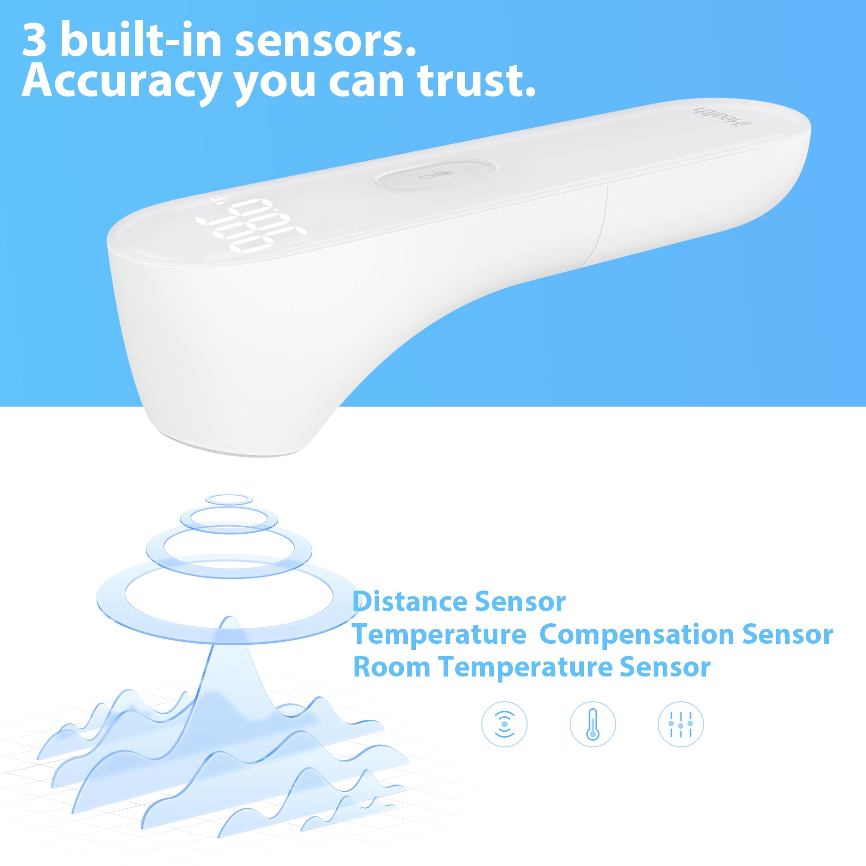 Infographic about iHealth PT3 non-contact infrared forehead thermometer's distance sensor, temperature compensation sensor, and room temperature sensors