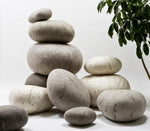 Silver Felted Wool Rock Pillows