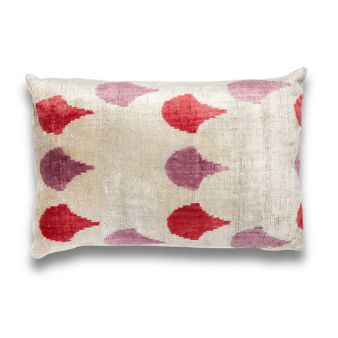 Pink Tears Silk Velvet IKAT Pillow