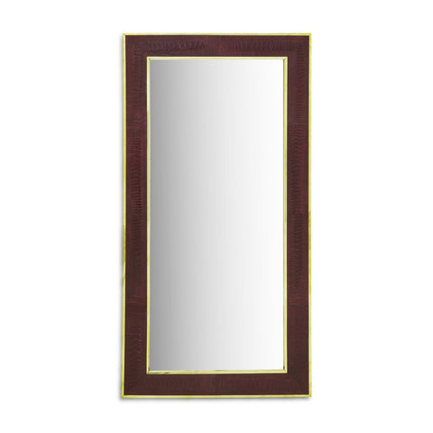 Burgundy with Chrome Trim Ostrich Mirror