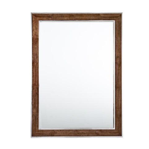 Dark Tobacco Ostrich and Steel Trim Mirror