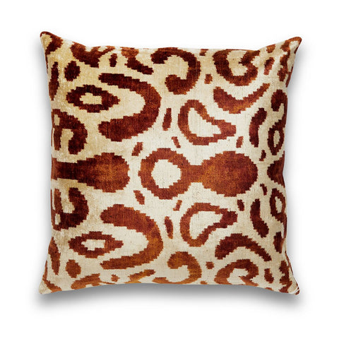 Bronze & Cream Silk Velvet IKAT Pillow