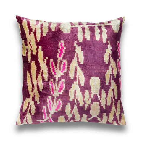 Purple & Lilac Blossom Silk Velvet IKAT Pillow