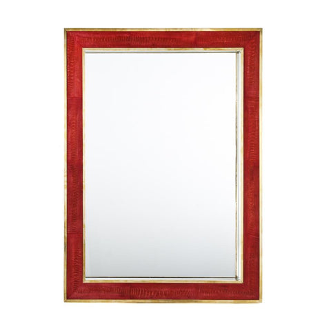 Megma Red Brass Trim Ostrich Mirror