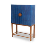 Ostrich Ripple Blue Bar Cabinet
