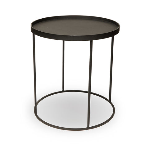 Sandpaper Black Side Table