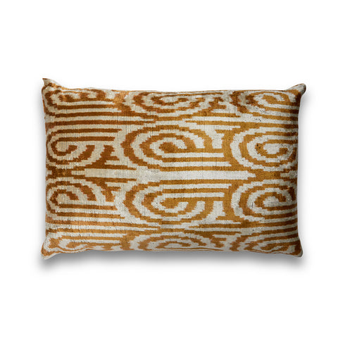 Swirls Silk Velvet IKAT Pillow