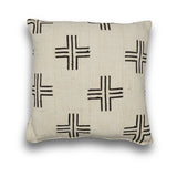 Genuine Mudcloth Black and White Square Cushion