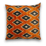 Silk Velvet Orange IKAT Jester Diamonds Large Square Pillow