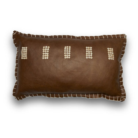 Chocolate Leather and Shell Whipstich Lumbar Pillow