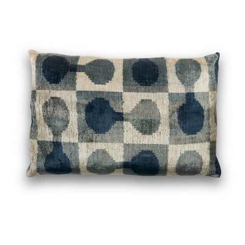 Silk Velvet IKAT Blues Lumbar Pillow