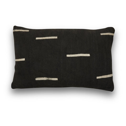Genuine Mudcloth Black and White Stripe Lumbar Cushion