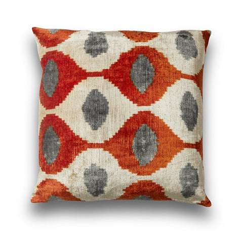 Silk Velvet IKAT Orange & Grey Teardrop Fabulous Large Square Pillow