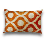 Silk Velvet Orange IKAT Lumbar Pillow