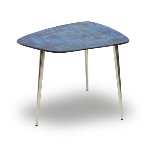 Blue Steel Metal Side Table